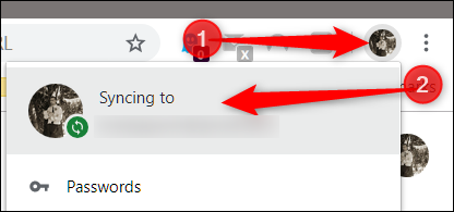 """Click your profile picture, then click on """"Syncing to"""""""