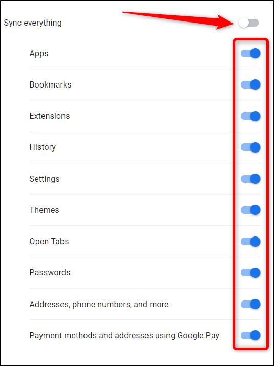 Para cambiar manualmente la información que se sincroniza, primero haga clic en Sincronizar todo, luego haga clic en las opciones que no desea guardar