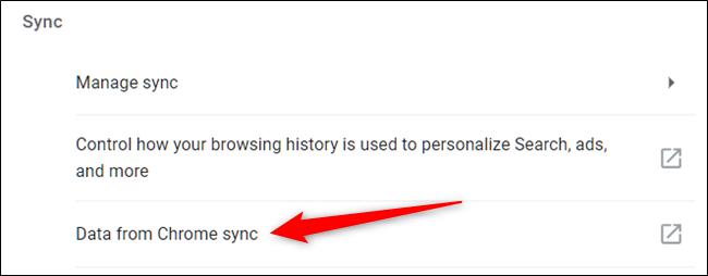 """Haga clic en """"Datos de Chrome Sync""""."""