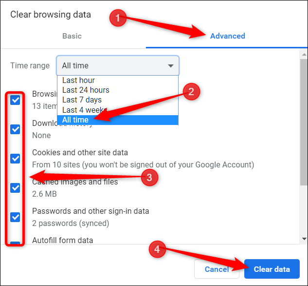 Click the advanced tab, choose all time from the menu, tick all options you want to delete, then click on Clear data