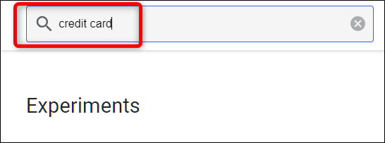 Type Credit Card into the search box