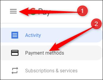 Click the hamburger menu icon, then click Payment Methods
