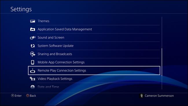 PS4 Settings menu
