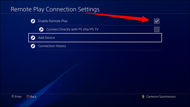 PS4 Remote Play Connection Settings