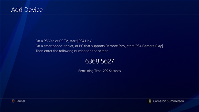 Sony Remote Play setup on PS4 Pro