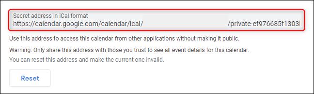 """The """"Secret address in iCal format"""" link"""