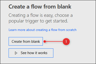 The Create from blank button