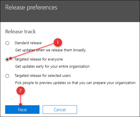 The Targeted release for everyone radio button
