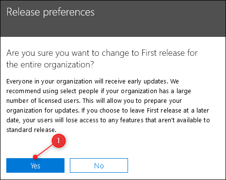 A warning message asking you to confirm your choice