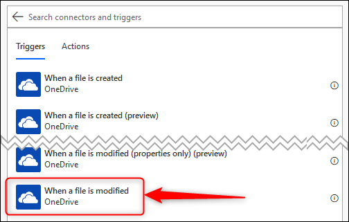 "The ""When a file is modified"" OneDrive trigger"