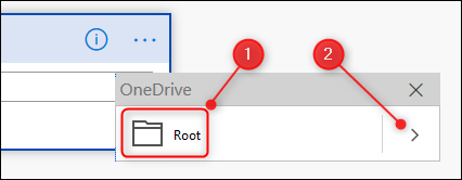 The OneDrive Root folder, and the browse folders arrow