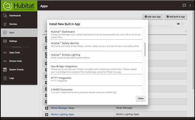Hubitat Apps settings