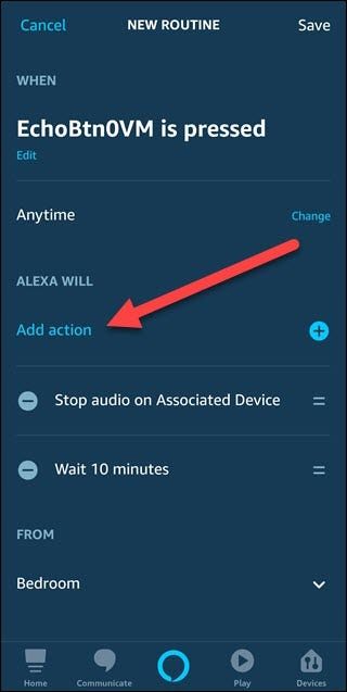 New routine dialog with arrow pointed to Add action.
