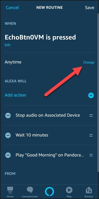 New routine dialog with arrow pointing to change option to the right of anytime text.