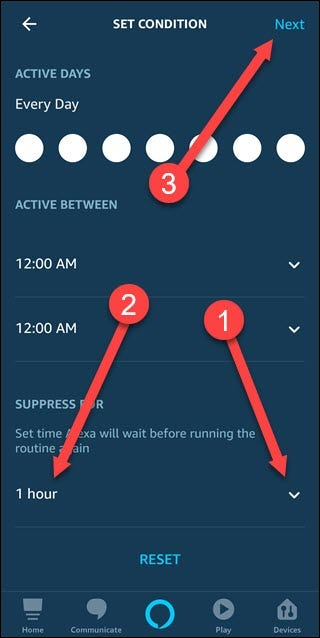 Set condition dialog with arrows pointing to down arrow, time, and next.