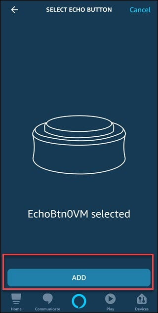 Select Echo Button dialog with box around Add button.