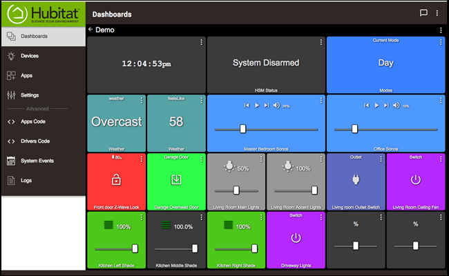 Hubitat Dashboard page featuring several smarthome options