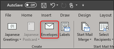 Envelopes in Create group