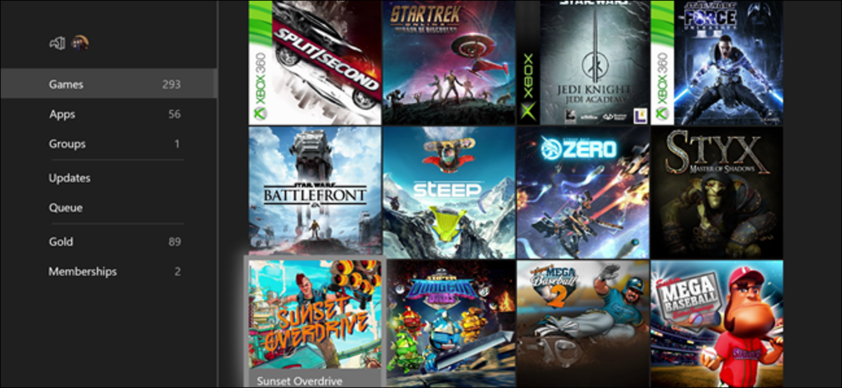 Xbox Games Library Screen