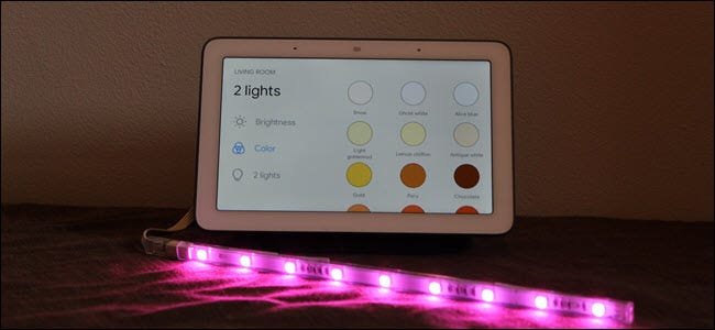 Google Home Hub with led lights in front of it.