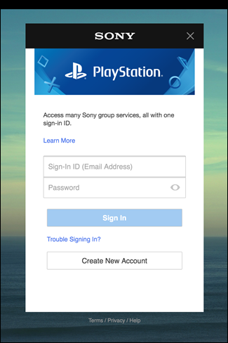 Sony login prompt