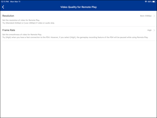 PS4 Remote Play video options on iOS