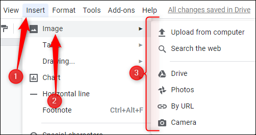 """Click """"Insert,"""" click """"Image,"""" and then choose the location of your image."""