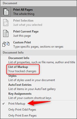 List of markup - print markup