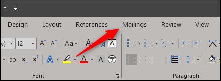 Mailings tab