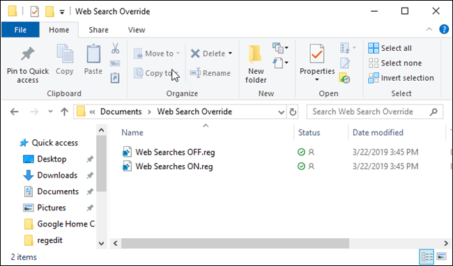 File Explorer with registry files.