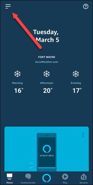 Alexa app with arrow pointing to hamburger menu