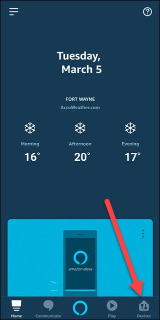 Alexa app with arrow pointing towards Devices option