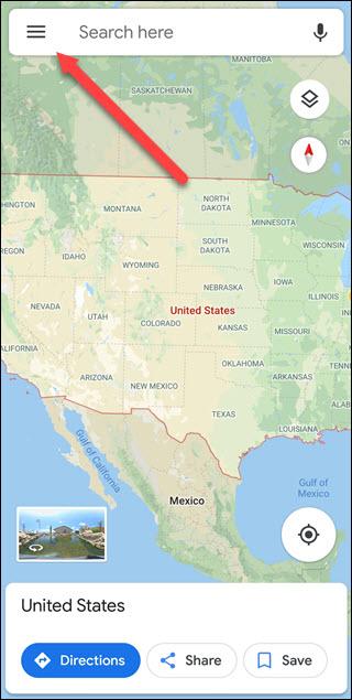 Google Maps app with arrow pointing to Hamburger Menu
