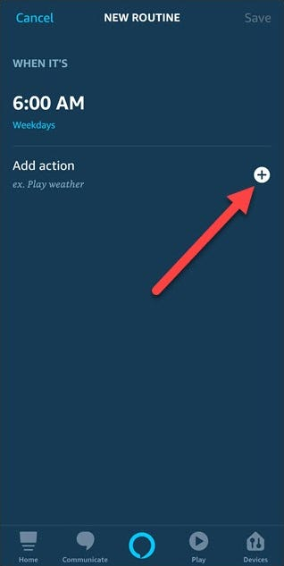 New routine dialog with arrow pointing to add action plus