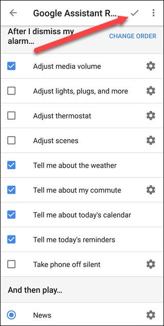Google Assistant routines options in Android's Clock app