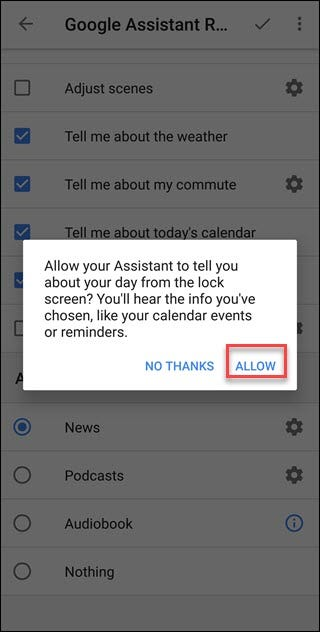Google App prompt with Allow option call out