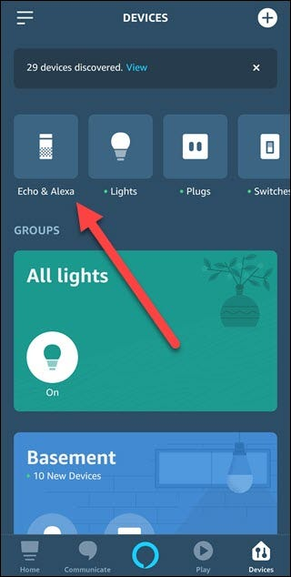 Alexa app with arrow pointing to Echo & Alexa