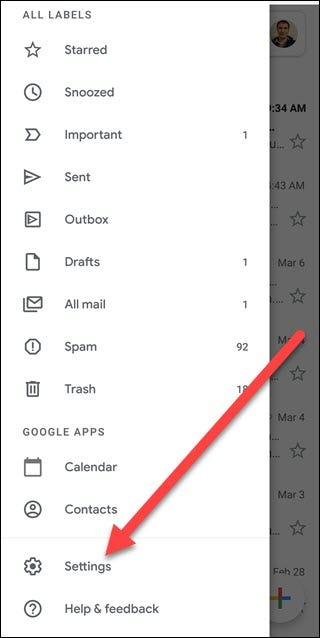 Gmail's menu