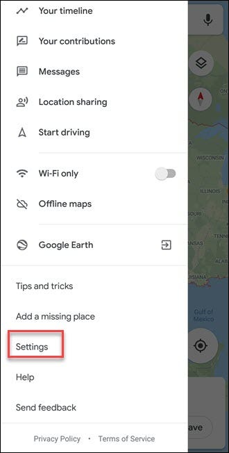 Google Maps submenu with Settings callout