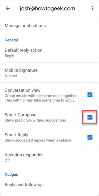 Gmail Settings page with box around checkmark for Smart Compose