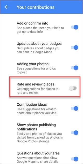 Google Maps Your Contributions menu with Rate and Review places callout.