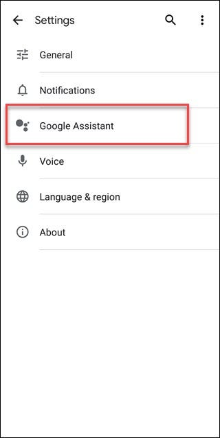 Google Search Settings with Google Assistant call out