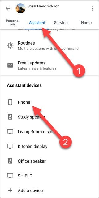 Google Search App with arrows pointing to Assistant and Phone option