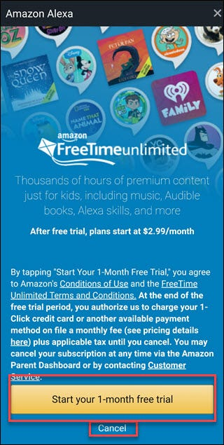 Freetime Unlimited offer screen with boxes around Start Your 1-month free trial and cancel options
