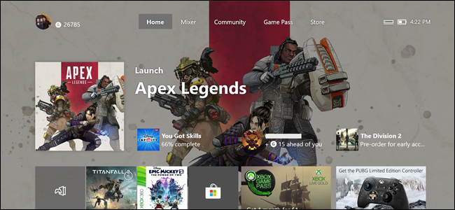 Xbox Home Screen with Apex Legends feature