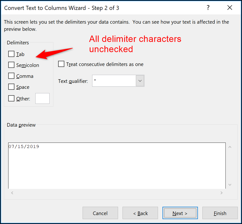 All delimiter character options unchecked