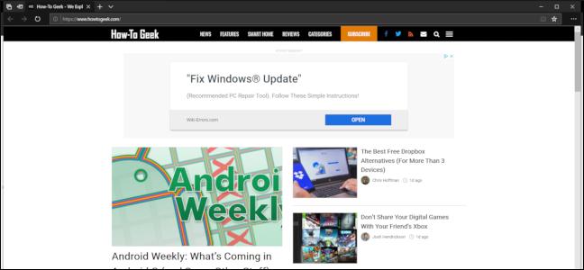 Microsoft Edge's dark theme