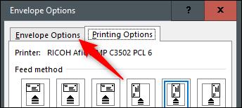 envelope options tab