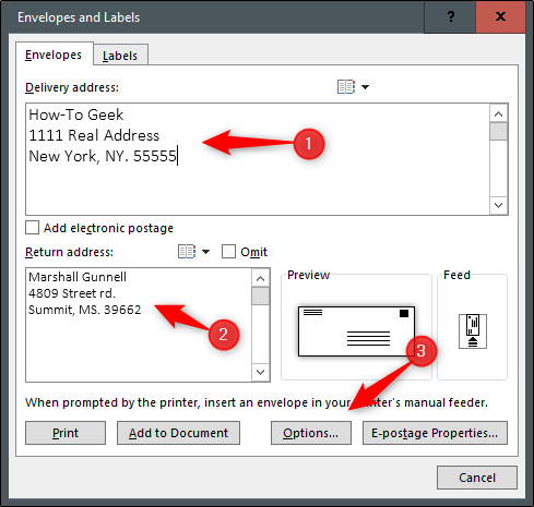 How To Create And Print An Envelope In Word