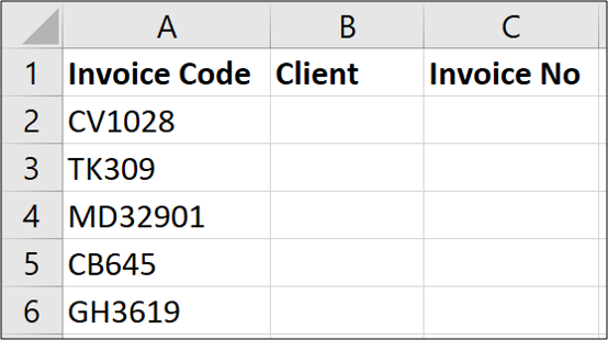 Sample data for fixed width text